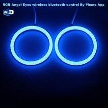 RGB Ангельские глазки хлопок светодиодные DRL Беспроводной Wi-Fi контроллер для Фары для автомобиля туман лампы мотоцикл свет-одна пара