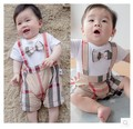 Newborn Baby Plaid Romper Bow Summer Boy Girl clothing ropa bebes mameluco jumpsuit bebe barboteusemacacao bebe menino t shirt