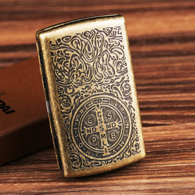 2018 Hot Male Pocket 12 Cigarette Case Vintage Metal Constantine Cigarette Boxes Holders Smoking Boxes With