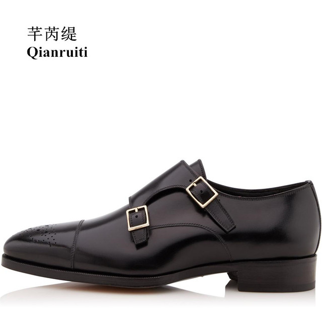Qianruiti Men Dress Shoes Double Monk Strap Buckle Oxfords Business Wedding  Flat Italian Fashion High Quality Dress Shoes 3e5fa9ff5448