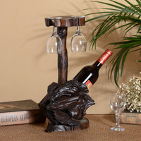 1PCS Red wine rack inverted wine bottle solid wood retro wine display rack ornaments (Without bottles and cups) LU717644