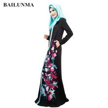 High quality printing muslim dress abaya  islamic clothing arab women wear B8026