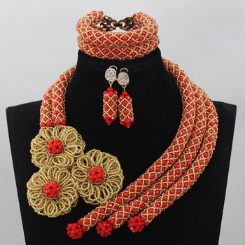 Splendid Red and Gold African Beads Costume Jewelry Set Flowers Chunky Statement Necklace Set for Brides Free Shipping WD686