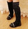 2017 Pai-Filho sapatos princesa elegante strass menina high-perna botas de neve das crianças criança sempre após alta botas