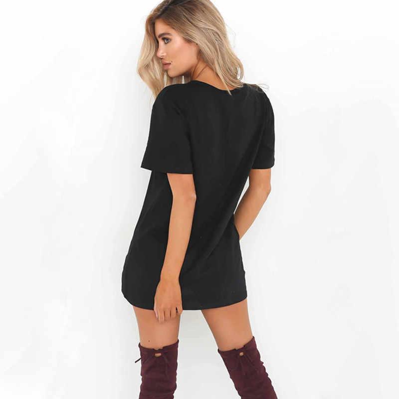 ZSIIBO seksowna dekolt w serek bawełna 2018 letnia damska jednokolorowa swobodna luźna sukienka kobieca krótka mini sukienka wysokiej jakości