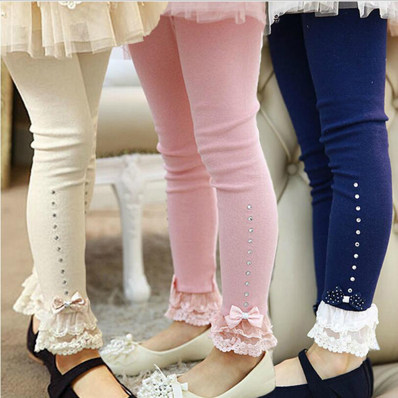 clearance 2017 Spring flower girl pants toddler baby girl leggings children lace trim ruffle rhinestone trousers 2y to 10y