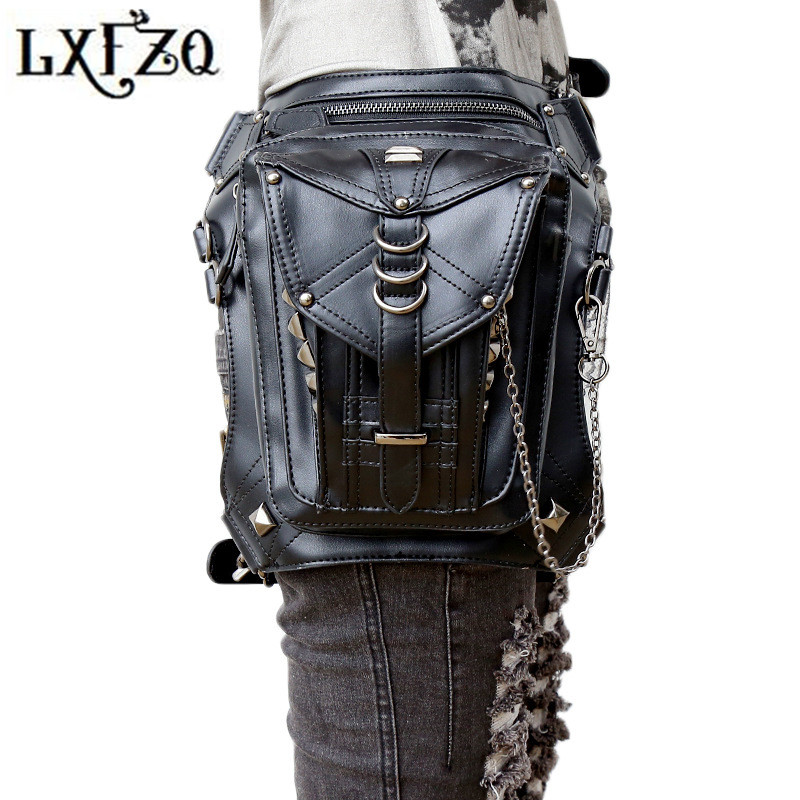 Steampunk bags fanny pack heuptas motorcycle leg bag fashion Belly band Steam punk bags Belt buckle a case for phone Waist Bags цена