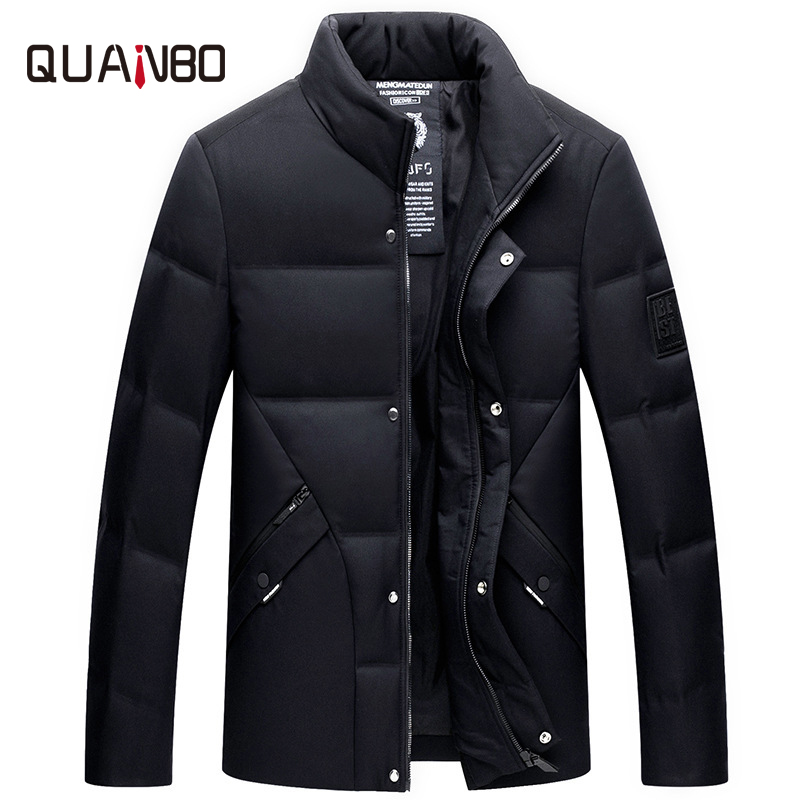 Winter new men's   Down   Jackets Middle-aged men's stand collar Simple thick jacket High quality business casual   down     coat