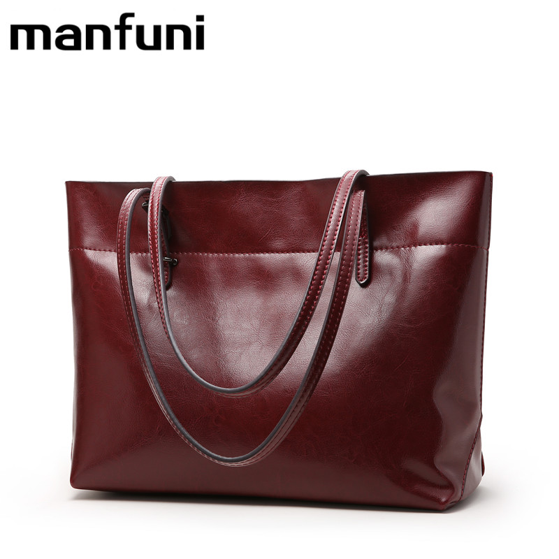 MANFUNI Women Bags genuine leather shoulder bag Large capacity double strap Cowhide Casual Tote Gift vintage bag 14 inch 0547