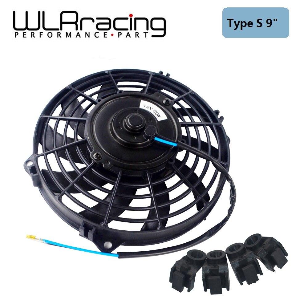 WLR RACING-9 인치 범용 12V 80W 슬림 가역 전기 라디에이터 자동 팬 푸시 풀 장착 키트 유형 S 9