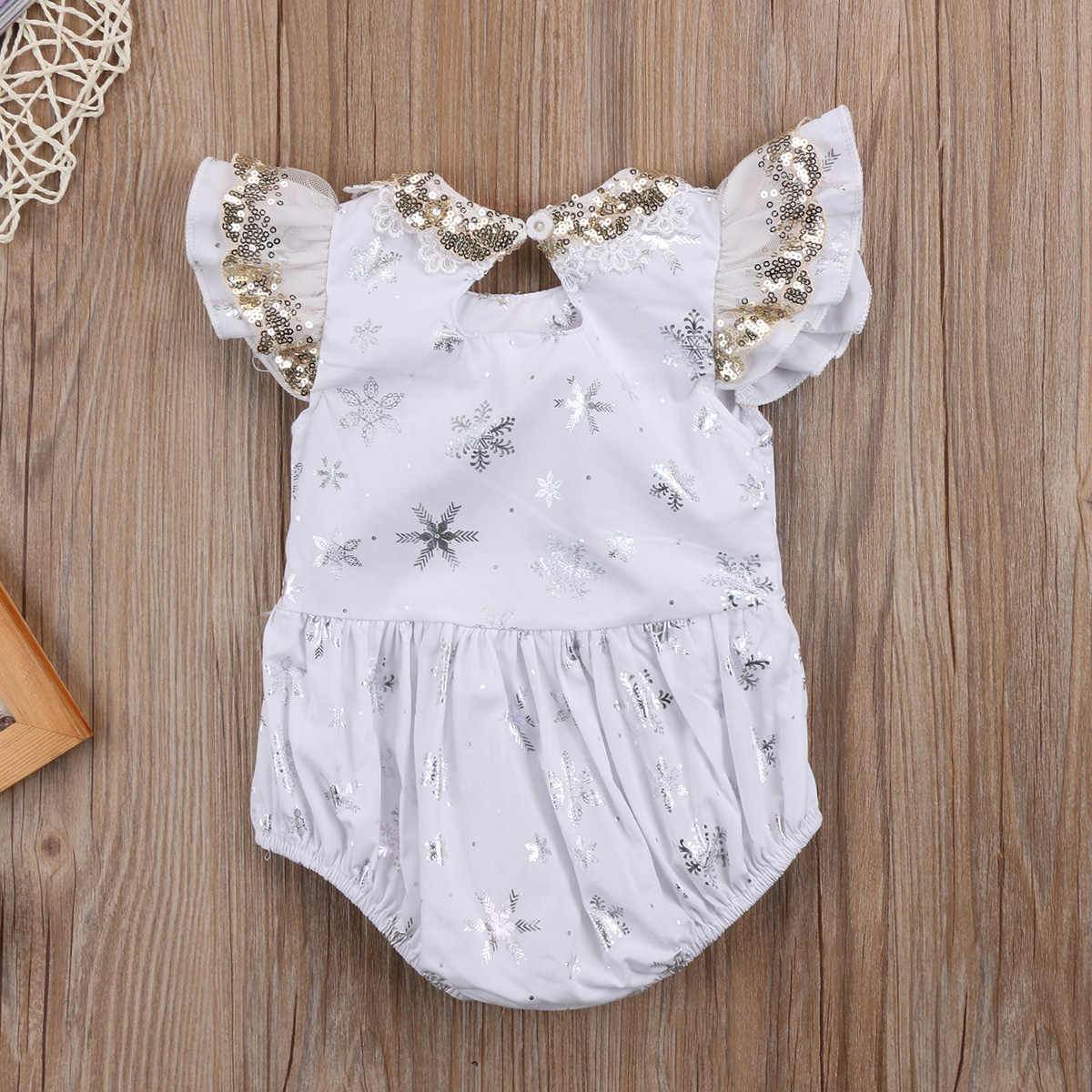 a27c69a5b7b2 ... Christmas Newborn Baby Girl Lace Sequins Romper Jumpsuit Ruffles  Snowflake Print White Purple Rompers Outfits Xmas