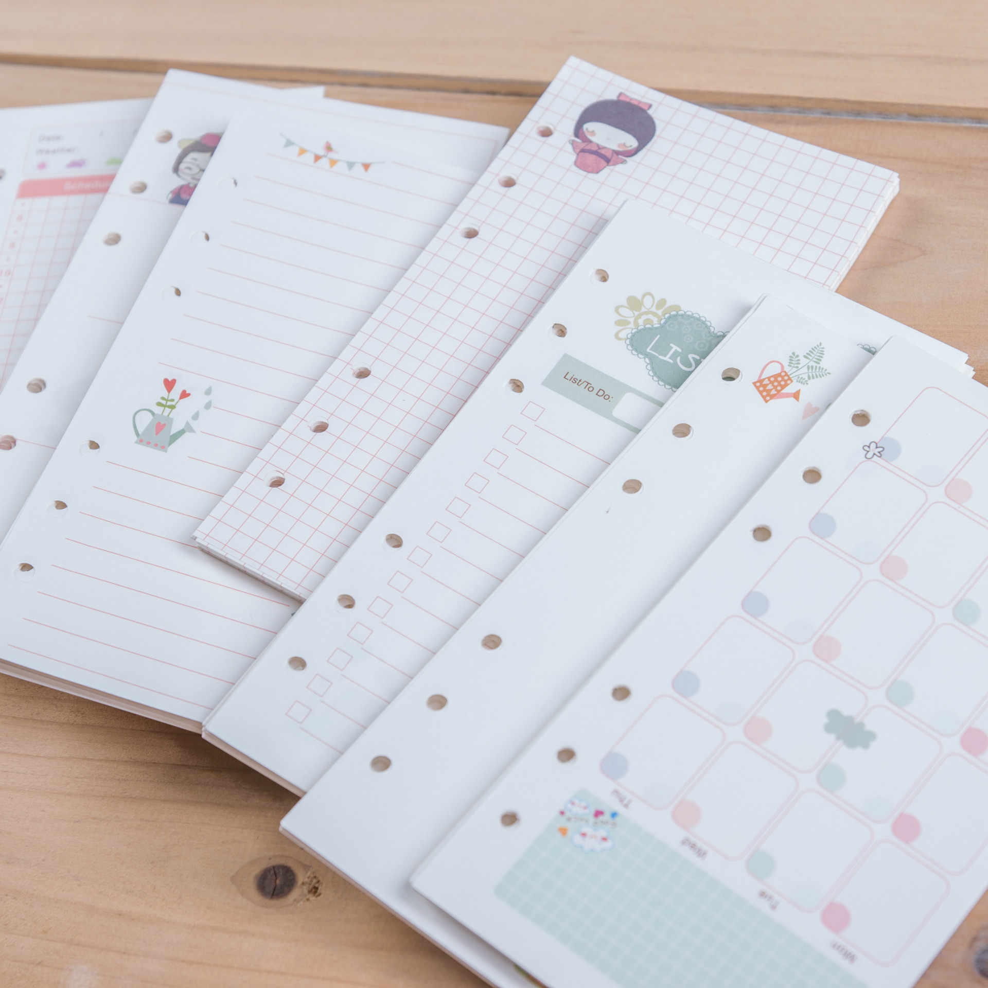 Harphia Cute Girl Series Notebook Refills Papers A5 A6 Diary Color Inner Core Planner Filler Paper Inside Page Gift forfilofax