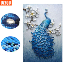 hot deal buy uzequ special shaped diamond embroidery full 5d diy diamond painting peacock cross stitch 3d diamond mosaic painting home decor