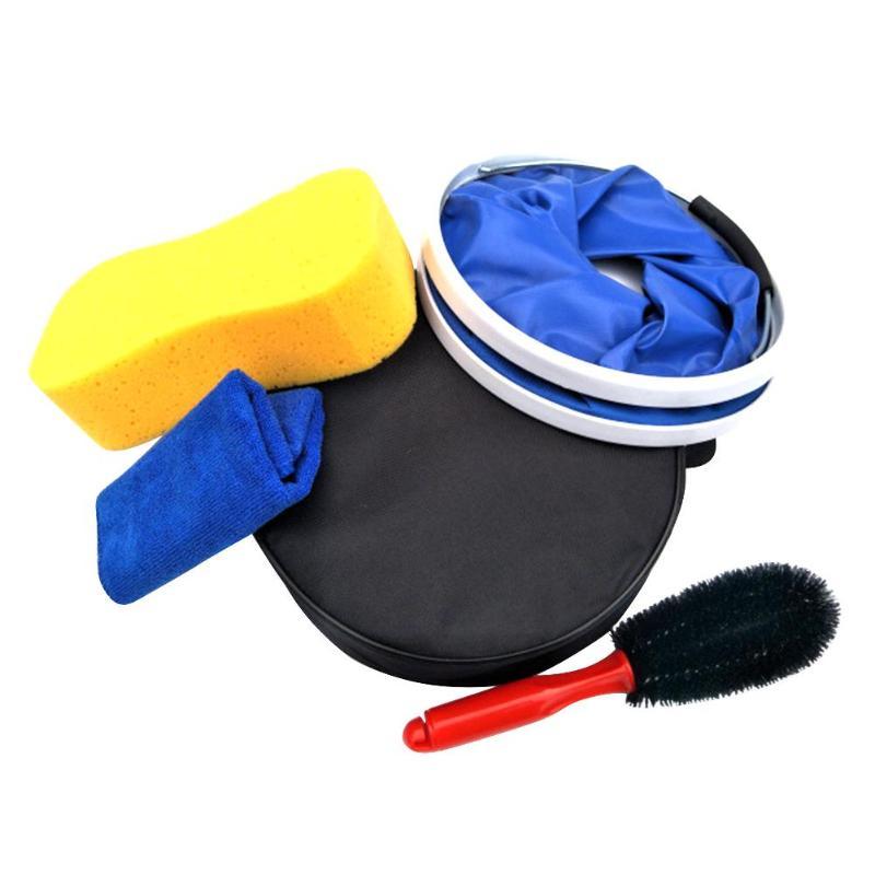 VODOOL 5 шт./компл. автомобиль чистящий комплект Стиральная инструмент Губка Кисть Полотенца складная сумка-мешок авто мотоциклов стирка инстр...