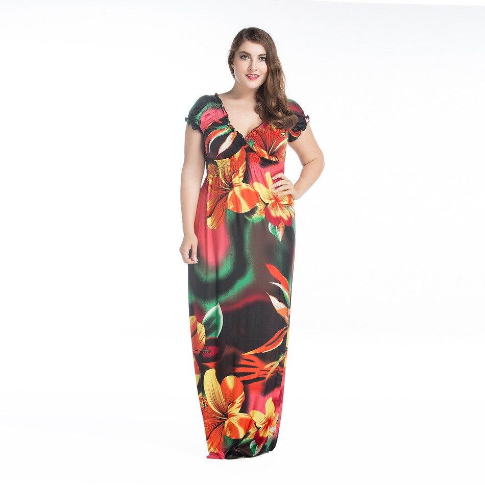 acdfad299 € 14.09 49% de DESCUENTO Clobee mujeres Ucrania primavera Elegante ropa  Bohemia V cuello flor hippie boho Maxi vestido de fiesta Plus tamaño 5XL ...