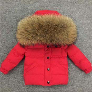 Kids winter down jackets baby girl and boys White duck down warm coats real fur collar outerwear snow clothes for children ws219