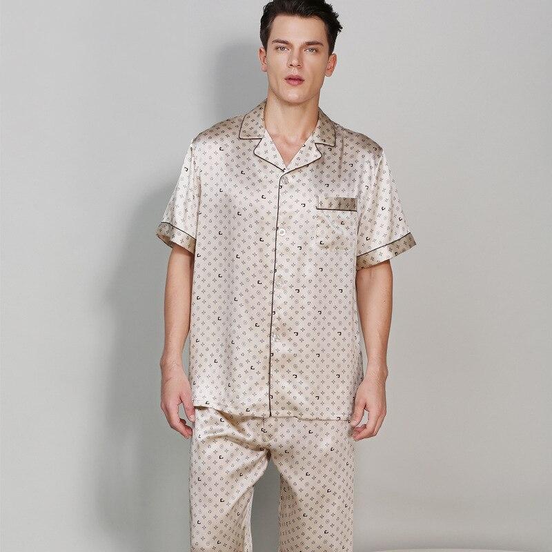 CEARPION Pant Night-Wear Home-Clothes Elegant Sleepwear Shirt Male Summer 100%Silk Casual