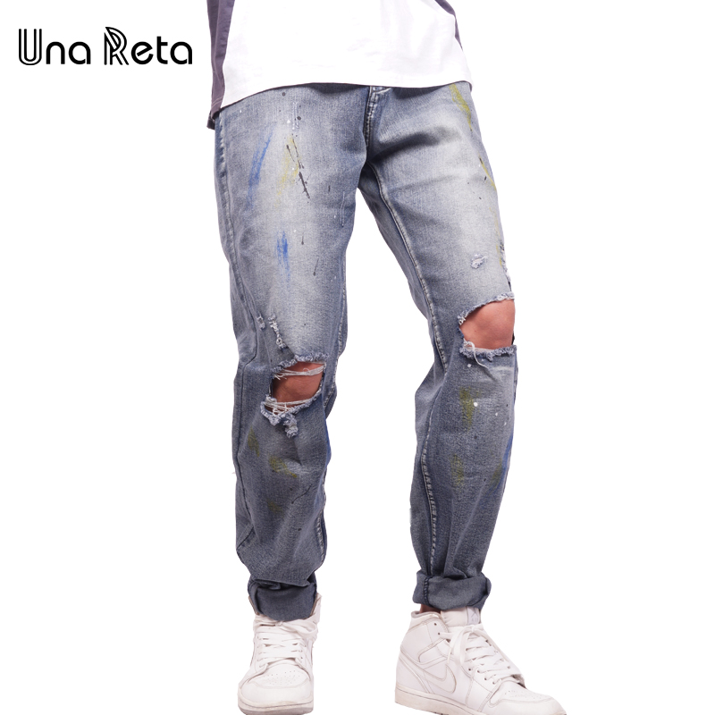 Una Reta High Quality Hole Jeans Men Trousers 2017 New Fashion Brand Cotton Denim Pant Plus Size Ripped Jean For Man xmy3dwx n ew blue jeans men straight denim jeans trousers plus size 28 38 high quality cotton brand male leisure jean pants