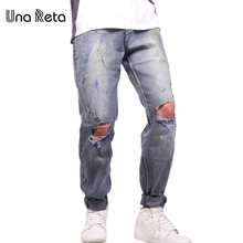 Una Reta High Quality Hole Jeans Men Trousers 2017 New Fashion Brand Cotton Denim Pant Plus Size Ripped Jean For Man