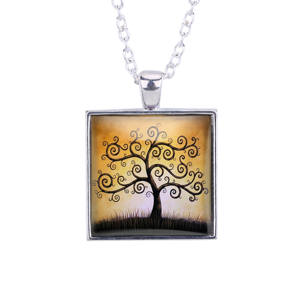 Anime Collectibles The Tree Of The Life Pattern Square Pendant Time Gem Cabocho Necklace Birthday New Year Gift Sweater Necklace