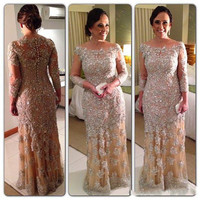 Elegant Champagne Long Mermaid Mother Of The Bridal Dresses Long Sleeve Lace Applique Pearls Moms Dresses For Wedding