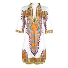 Robe Ete Femme 2016 Ladies Sexy Ethnic Print High Elastic Tshirt Dress Women V-Neck Knee Length Dashiki Dress Plus Size 3XL