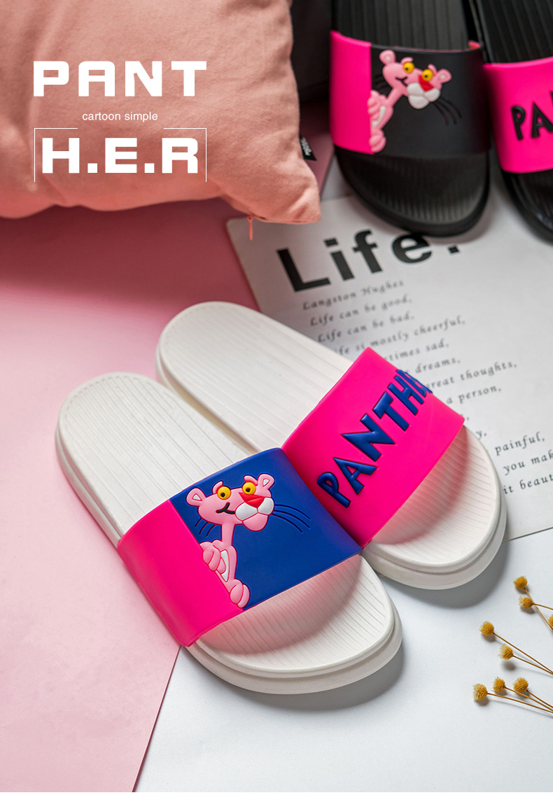 18 summer slippers women sandals Pink Leopard lovely Ladies sandals Non-slip Beach female flip flops Woman Shoes Slides 6