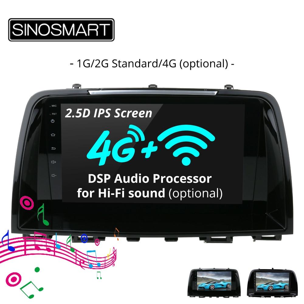 Sinosmart suporte sistema de estacionamento nativo 1g/2g jogador navegação gps do carro para mazda 6 atenza/CX-5 32eq dsp processador 4g opcional