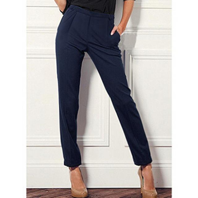 2016 Señora de la Oficina Moda de Verano de Color Caramelo Cintura Elástica Pantalones de Las Mujeres, más el tamaño 2XL Delgado Harem Ocasional S-XXL