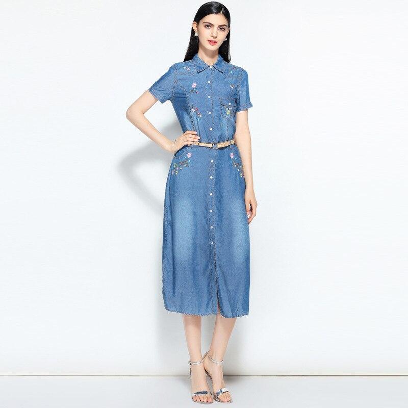 Kadın Giyim'ten Elbiseler'de Yeni yaz rahat Nakış elbise kadın zarif peter pan yaka kısa kollu denim elbiseler vestidos de verano kadın kıyafetleri 2019'da  Grup 2