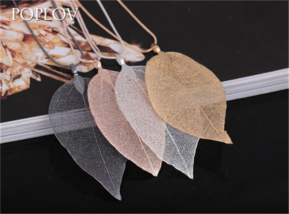 POPLOV New Arrival Unique Plated Golden True Leaves Lone Natural Leaf Pendant Necklace for Women Fashion Plant Sweather Chain