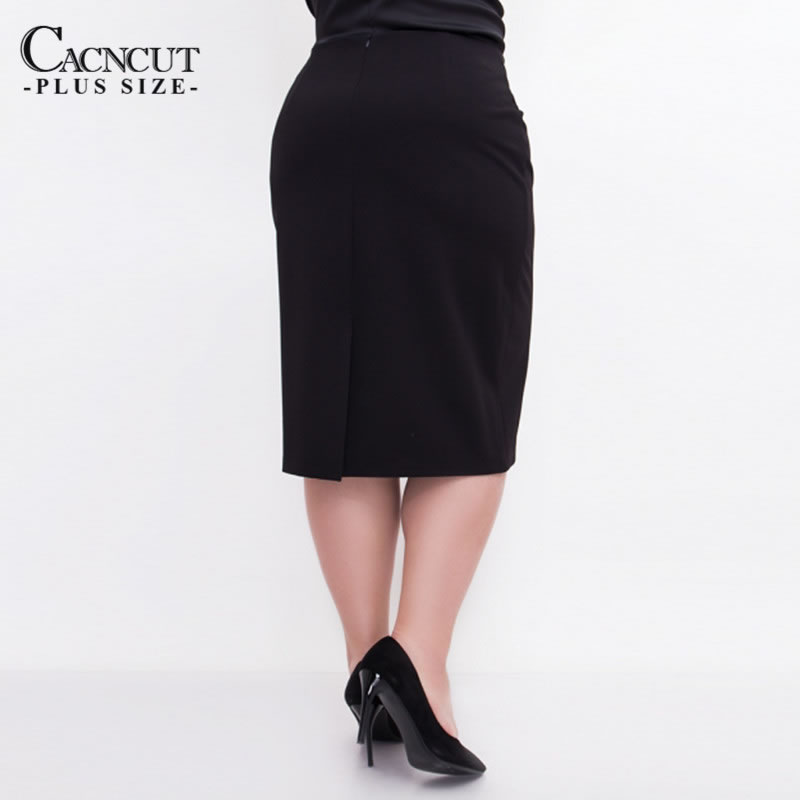 CACNCUT Big Size High Waist Bag Thigh Skirt Business Casual Skirt For Women 2019 Plus Size Bodycon Pencil Office Skirt Black 6XL 47