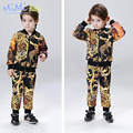Children Clothing for Boys 2017 Spring Sports Suit Leopard Printing Cartoon Jacket+ Pant Set Fashion Kids Clothes for Boys