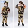 Crianças Roupas para Meninos 2017 Primavera Terno Dos Esportes Leopardo Dos Desenhos Animados Impressão Jaqueta + Calça Conjunto de Roupas de Moda Infantil para Meninos
