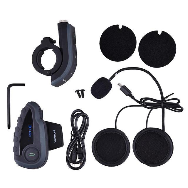 Moto Bluetooth Headset Casco Para 5 Riders Intercom Con NFC Mando a distancia FM V8 BT Interphone 1200 M Intercomunicador
