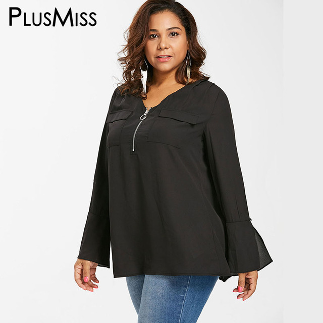 PlusMiss Plus Size Bell Flare Sleeve Front Zipper Tunic Tops 5XL XXXXL Women Big Size Black Chiffon Blouse Female 2018 XXXL XXL