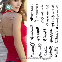 HC1174 Body Art Sex Products Black White I Love You European Style Water Transfer Temporary Fast Flash Fake Tattoos Sticker Taty