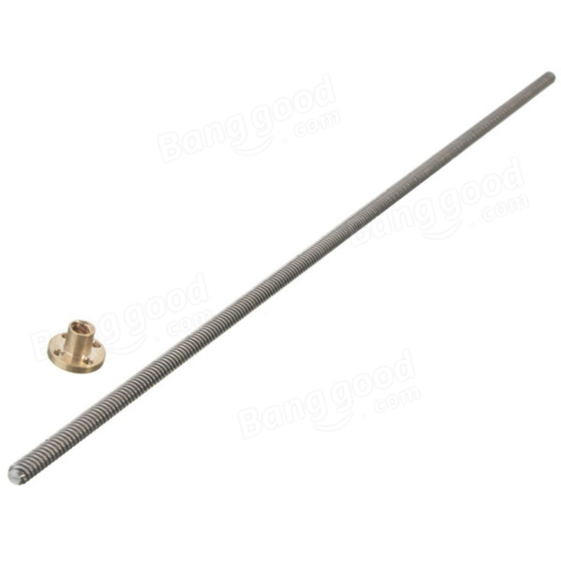 3D Printer Lead Screw 8mm L 600mm Dia 8MM Pitch 2mm Length 600mm With Brass Nut For DIY 3D Printers Kit Accessories