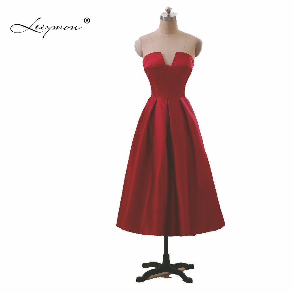 Leeymon Strapless Wine Red Bridesmaid Dress Tea-Length Maid of Honor Dress Wedding Party Dress 2018 A135