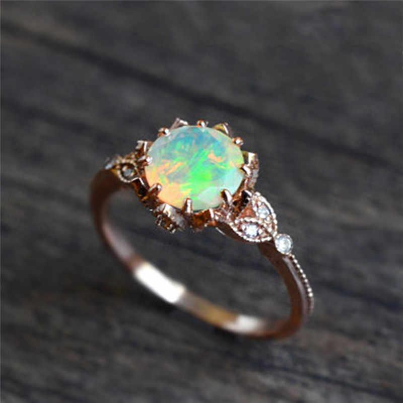 ROMAD Leaf แหวนไฟโอปอลหมั้นแหวน AAA CZ งานแต่งงานแหวนแฟชั่นผู้หญิงเครื่องประดับ R4