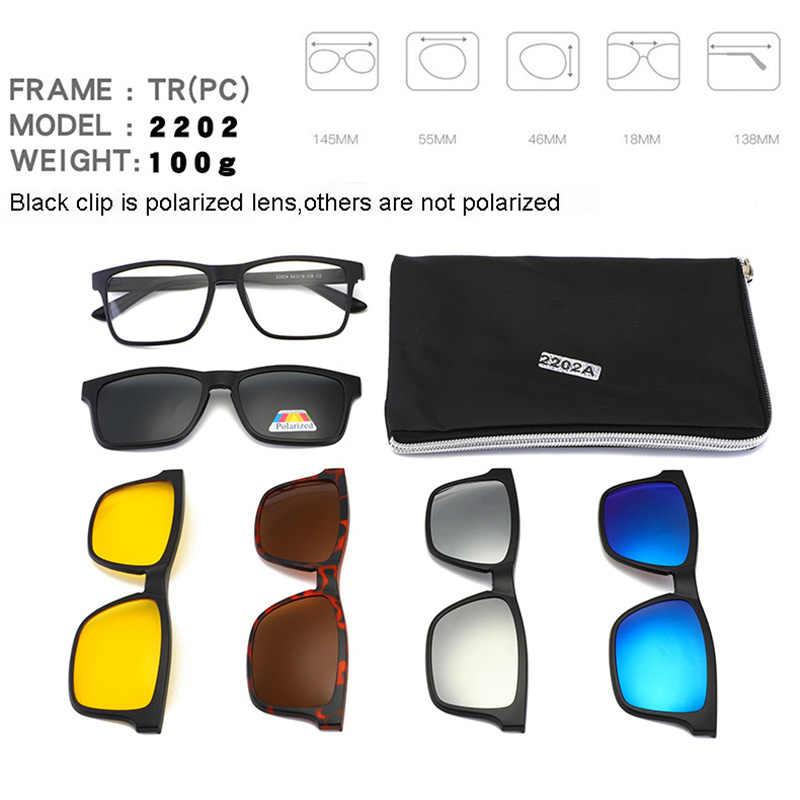 30c4377503b ... Superhot Polarized Sunglasses Men Women 5 In 1 Magnetic Clip On Glasses  Optical Prescription Eyewear Light ...