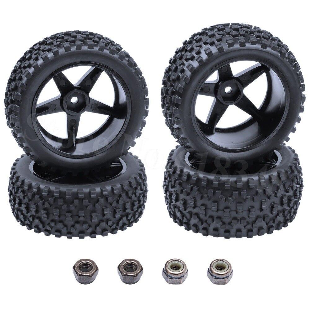 4ks Gumové RC pneumatiky a plastové disky kola Hex Hub 12mm pro 1/10 stupnice Elektrické Nitro Off Road Buggy Přední / Zadní pneumatiky 2wd 4wd