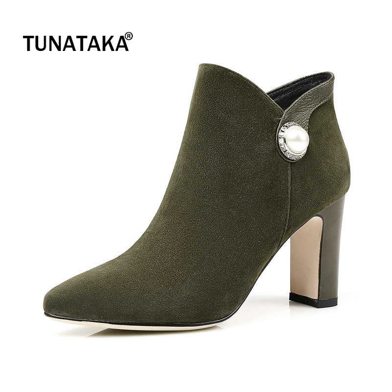 Suede Square High Heel Side Zipper Woman Ankle Boots Fashion Pointed Toe Dress Ladies Boots Black Army Green цена