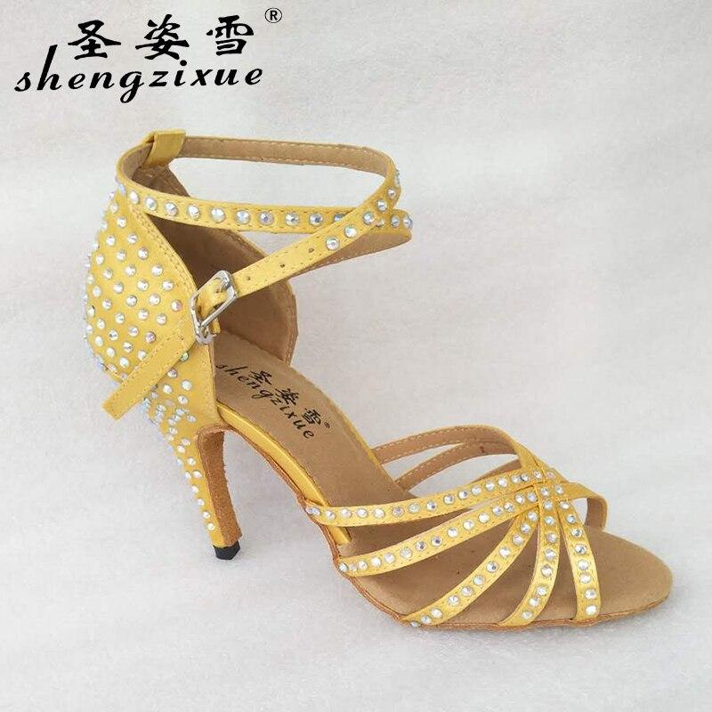 free shipping Shengzixue brand two color yellow and bronze shoes rhinestone  Latin dancing shoes and modern dancing shoes-in Dance shoes from Sports ... 9d17ebc3be01