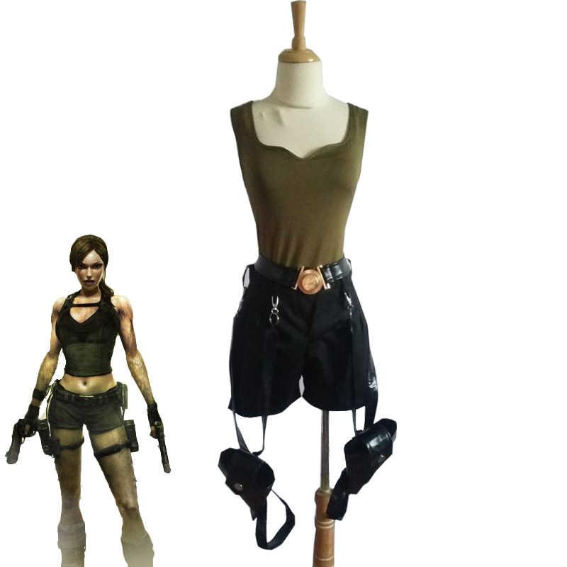 Game Tomb Raider Lara Croft Cosplay Costume Women Sexy Halloween Carnival Uniforms Full Set With Gun Bag Custom Made