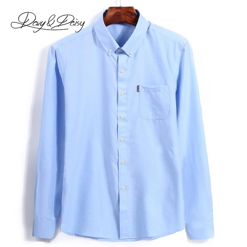 DAVYDAISY Мужчины Рубашки Высокого Качества Оксфорд Выключите Ошейник С Длинным Рукавом Твердые Марка Clothing Повседневная Рубашка Человек DS048