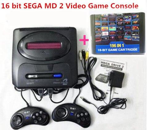 Console de jeu vidéo SEGA MD 2 16 bits avec commutateur de Mode américain et japonais, pour les poignées SEGA originales exportent la russie avec 196 jeux classiques