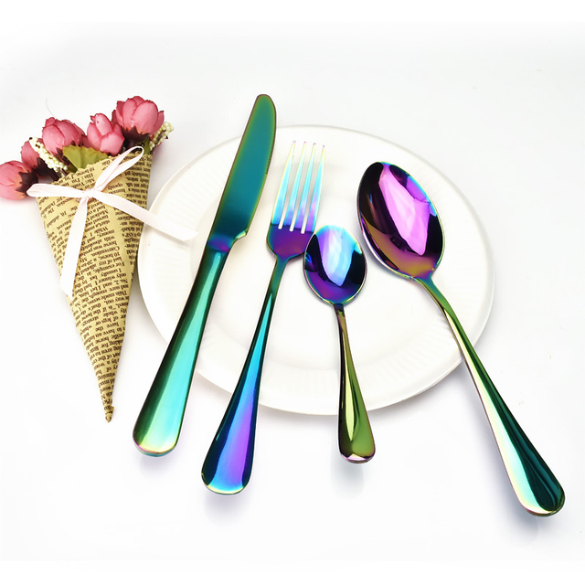 4pcs Stainless Steel Colorful Cutlery Set Rainbow Gold Plated Dinnerware Creative Dinner Set Fork Knife for Wedding & Hotel F462