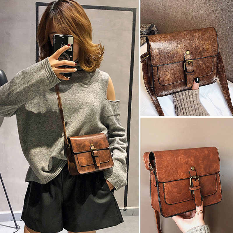 Vintage Women Flap Fashion Casual Leather Shoulder Bags Lady Crossbody Messenger Bag Elegant Envelop Clutches Small Square Pack