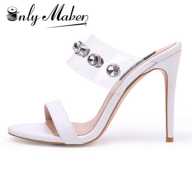 f620d51cfe14 onlymaker Women s Clear Open Toe Mules Slingback Stiletto Rhinestone  Embellished High Heels Slip on Slide Sandals EU45